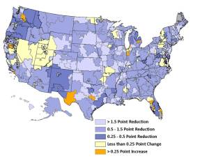 Map of the United States.  Shows readmission rates declined in the vast majority of HRRs and improvement was widespread throughout the country.  Rates increased in a small number of HRRs with increases not focused in particular areas of the country.