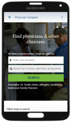 Screenshot of Medicare.gov Physician Compare website home page.